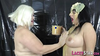 Mature Lesbian Gets Wet And Messy