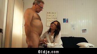 Young doctor fucking and sucking old patient cock with her glasses on