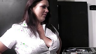Boss pounds busty secretary from behind