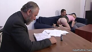 Old husband watches guy fucks her
