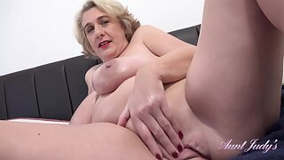 Mature blonde cock teaser, Camilla is about to show us her masturbating routine, until she cums