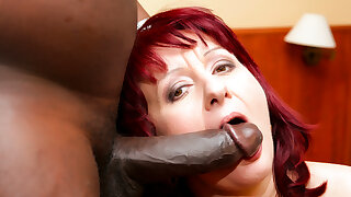 Mature Redhead Takes A Big Black Cock Deep In Her Ass - GrannyGetsBBC