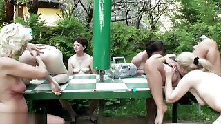 Big old and young lesbian orgy with golden showers