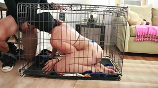 masked big tits Grandma gets face fucked,caged and abuse
