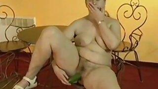 Chubby gummy granny masturbates