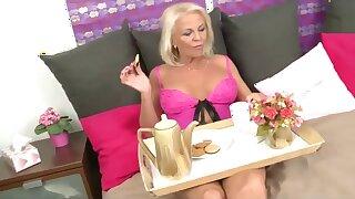 Blonde granny -breakfast in bed