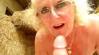 Claire Knight Slurps Cum From Stableboys Sloppy Cock in Barn