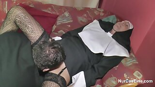 Horny German nun is getting banged from the back, because she is hornier than ever