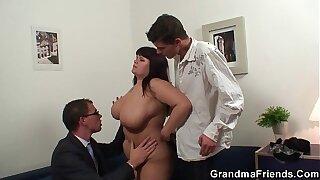 Big tits mature threesome sex