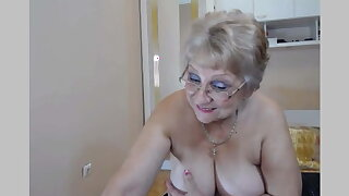 Big breasted granny strips and teases on webcam