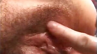 Director analyzes attractive granny with hairy pussy