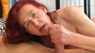 Czech granny with red hair likes to hook up with some younger guy and get fucked hard
