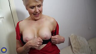 British mature woman is masturbating in front of the camera, because it excites her a lot