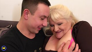 Leona is a dirty minded, blonde granny who likes to wear black fishnets and fuck younger guys