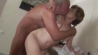 Horny old woman has offered her hairy pussy to a man and got a good fuck