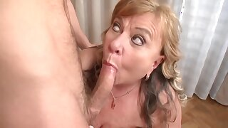 Insatiable, blonde granny with big boobs is about to get hammered harder than ever before