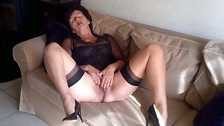 Granny masturbates after church