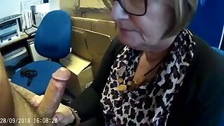 Mature wife sucking her boss off at work