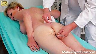 Old pussy exam of hairy blonde granny - MatureGynoExam.com