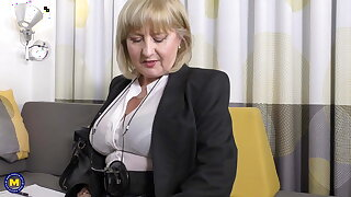 A very erotic job interview by 57yo sexy Lorna Blu