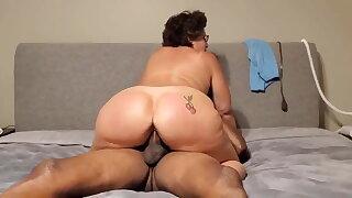 Denise riding away