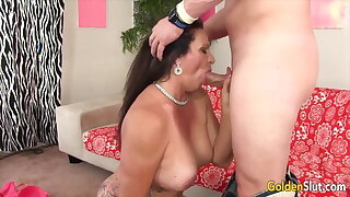 Golden Slut - Mature Hugging Cock With Her Lips Compilation