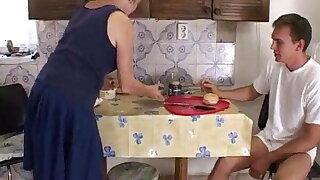 Young man fucks granny for food