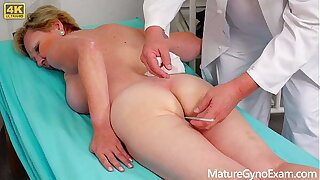 Old pussy exam of hairy blonde granny