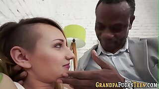 Slut fucks old black man